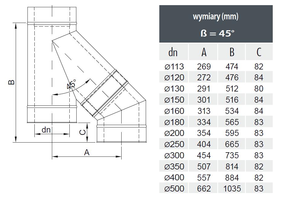 Połączenie trójnik dwuściennego z kolanem dwuściennym - przesunięcie układu kominowego w pionie - schemat z wymiarami MK Żary Einstel.pl