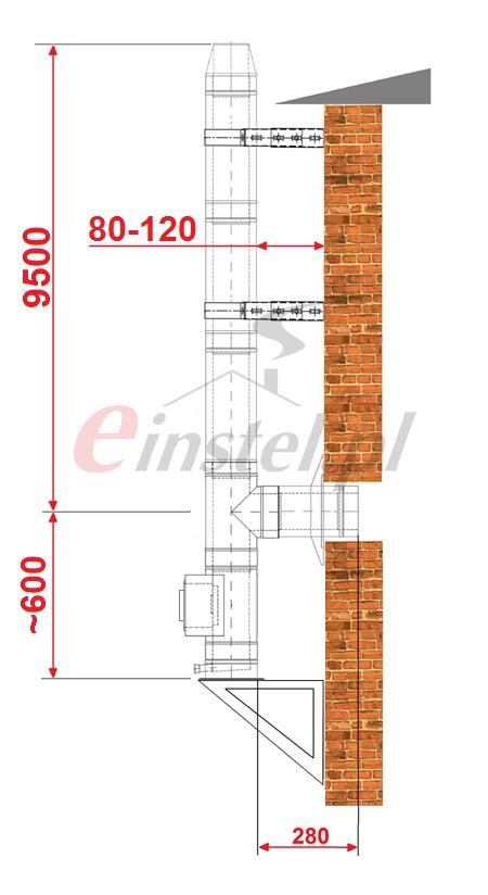 Wymiary komina: 9500 wysokość, dystans od ściany 80-120 mm, wysokość wyczystki 600 mm.