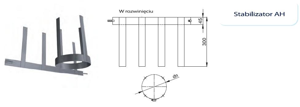 Obejma stabilizująca komin / wkład kominowy w szachcie. Zastosowanie: kotły turbo oraz kondensacyjne