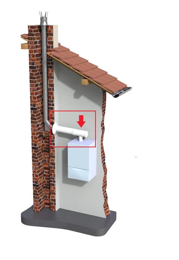 Montaż komina do kotła kondensacyjnego - trójnik MKPS z króćcami